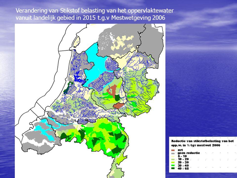 Verandering van Stikstof belasting van het oppervlaktewater