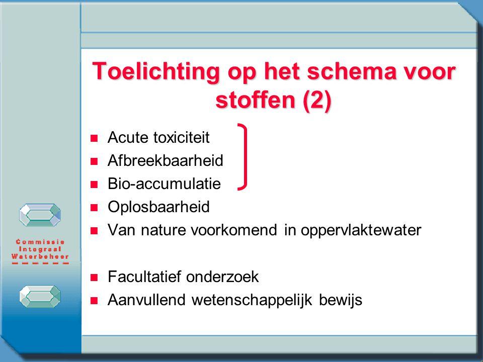Toelichting op het schema voor stoffen (2)