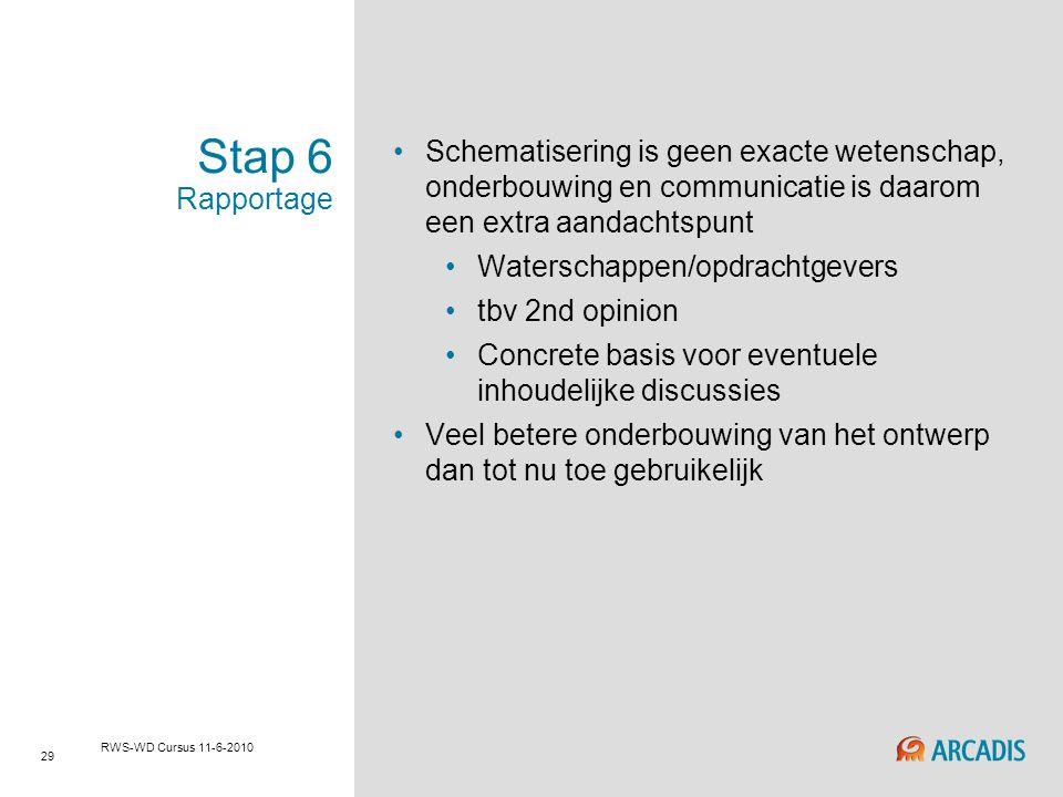 RWS-WD cursus 29-4-2010 Stap 6 Rapportage. Schematisering is geen exacte wetenschap, onderbouwing en communicatie is daarom een extra aandachtspunt.