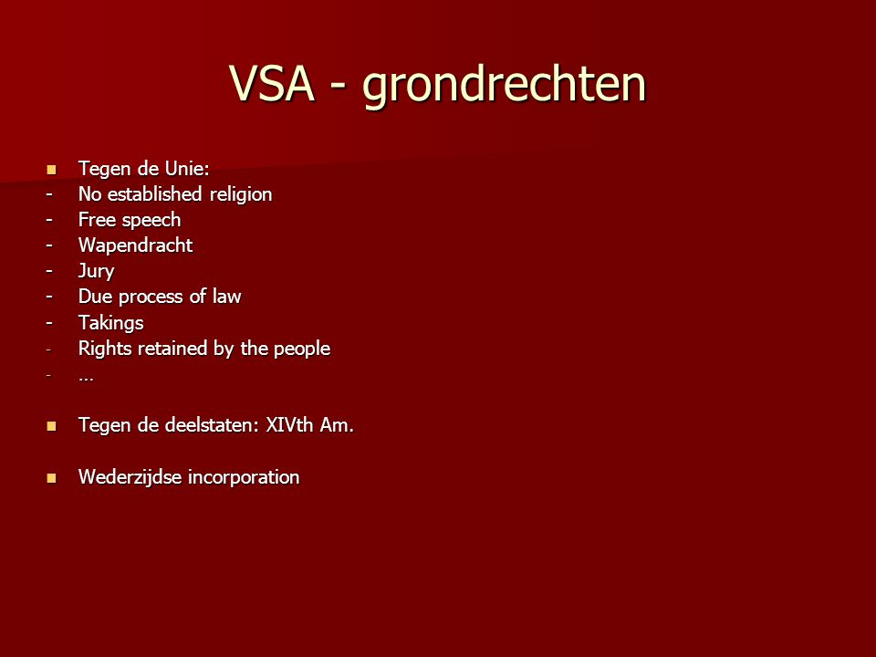 VSA - grondrechten Tegen de Unie: - No established religion