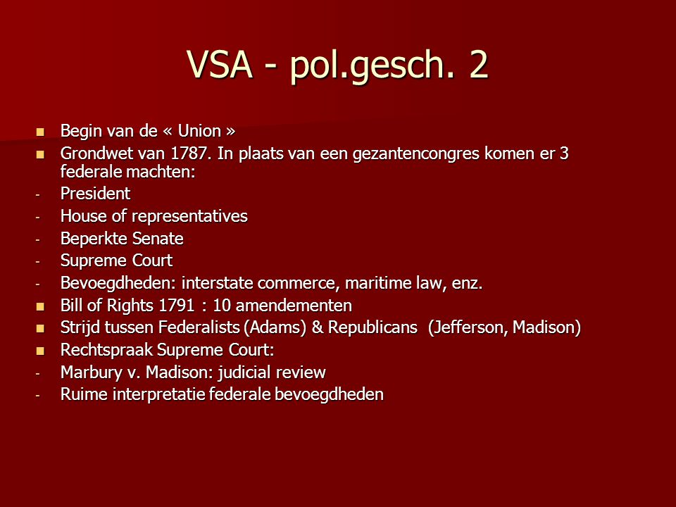 VSA - pol.gesch. 2 Begin van de « Union »