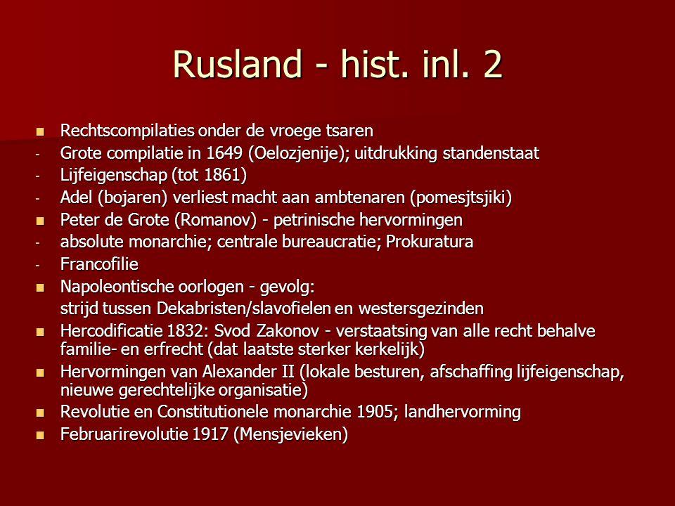 Rusland - hist. inl. 2 Rechtscompilaties onder de vroege tsaren