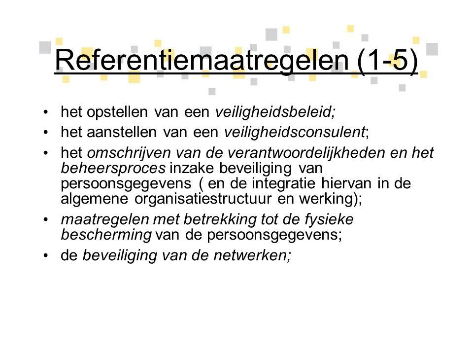 Referentiemaatregelen (1-5)