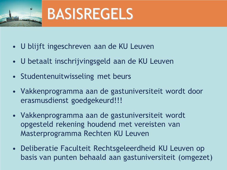 BASISREGELS U blijft ingeschreven aan de KU Leuven