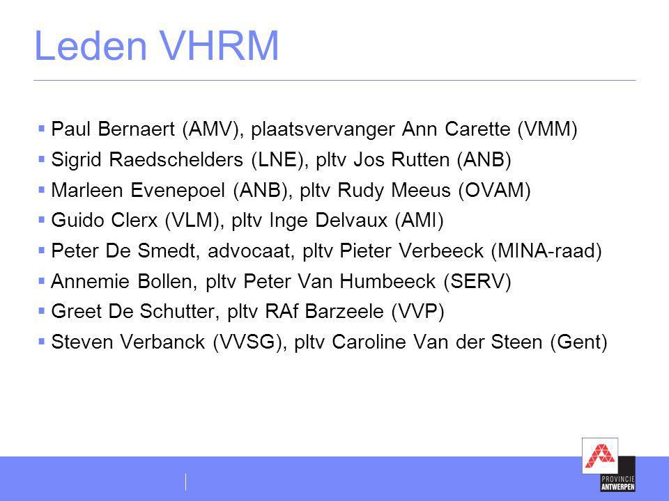 Leden VHRM Paul Bernaert (AMV), plaatsvervanger Ann Carette (VMM)