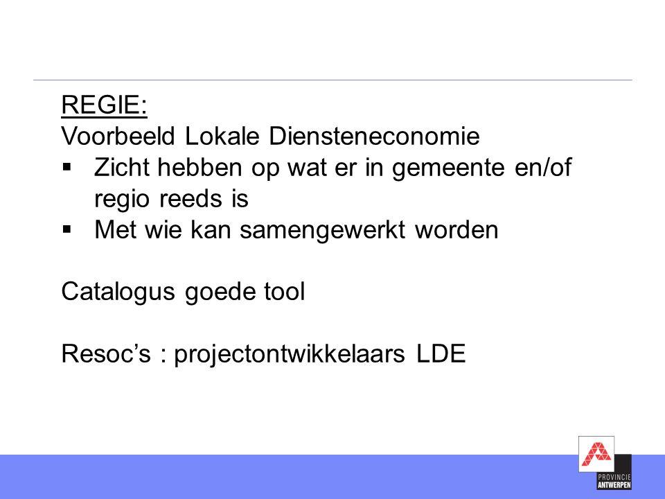 REGIE: Voorbeeld Lokale Diensteneconomie. Zicht hebben op wat er in gemeente en/of regio reeds is.