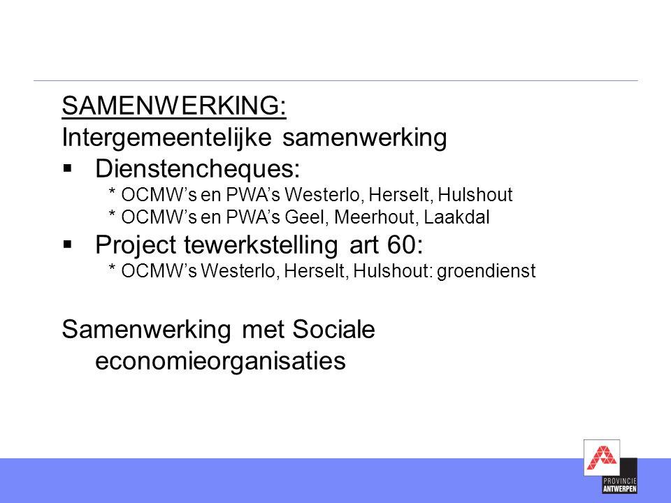 Intergemeentelijke samenwerking Dienstencheques: