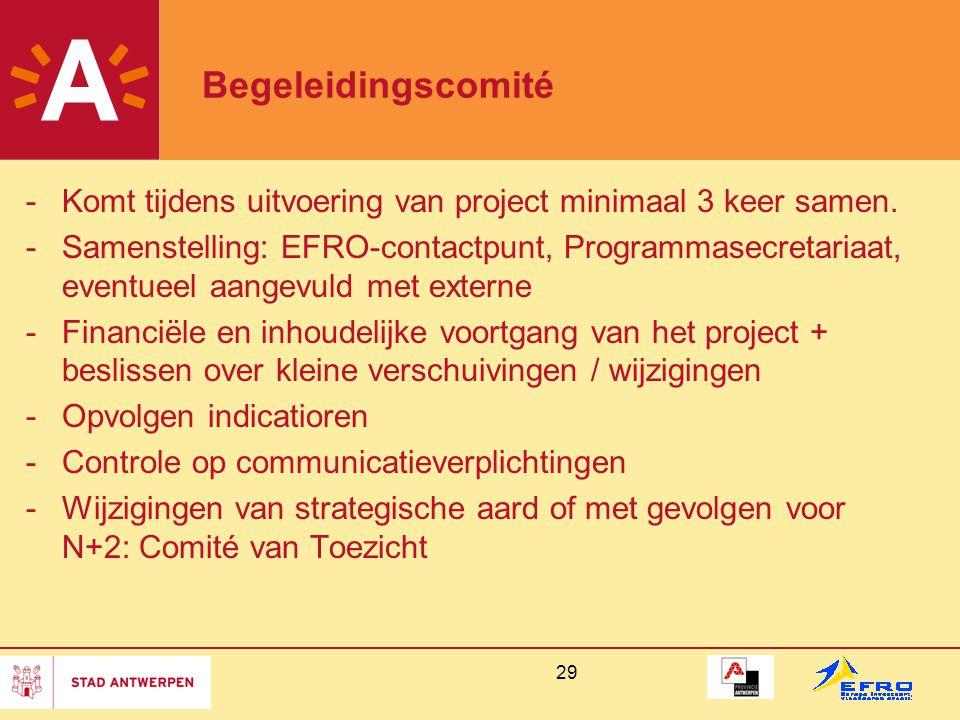 Begeleidingscomité Komt tijdens uitvoering van project minimaal 3 keer samen.