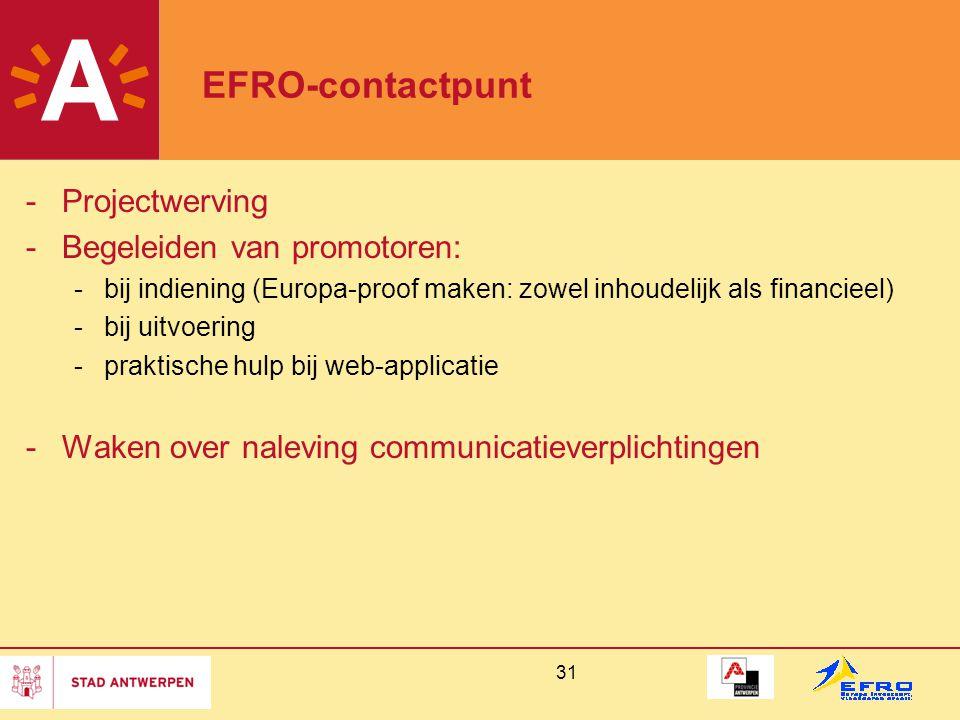 EFRO-contactpunt Projectwerving Begeleiden van promotoren:
