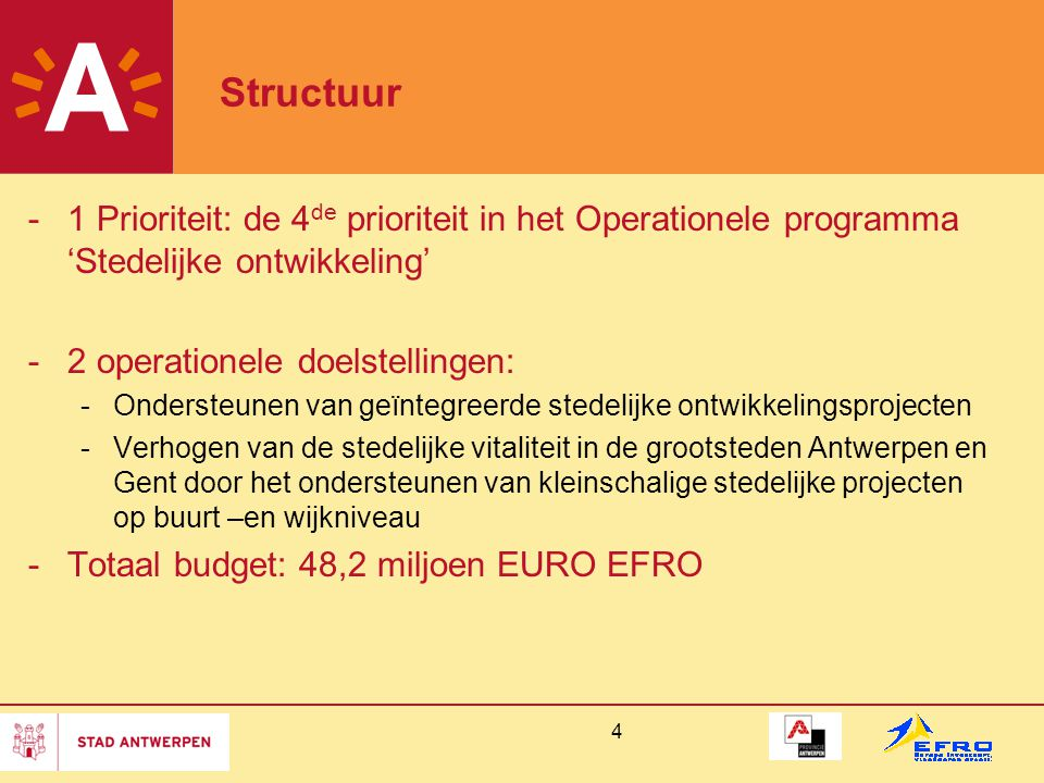 Structuur 1 Prioriteit: de 4de prioriteit in het Operationele programma 'Stedelijke ontwikkeling' 2 operationele doelstellingen: