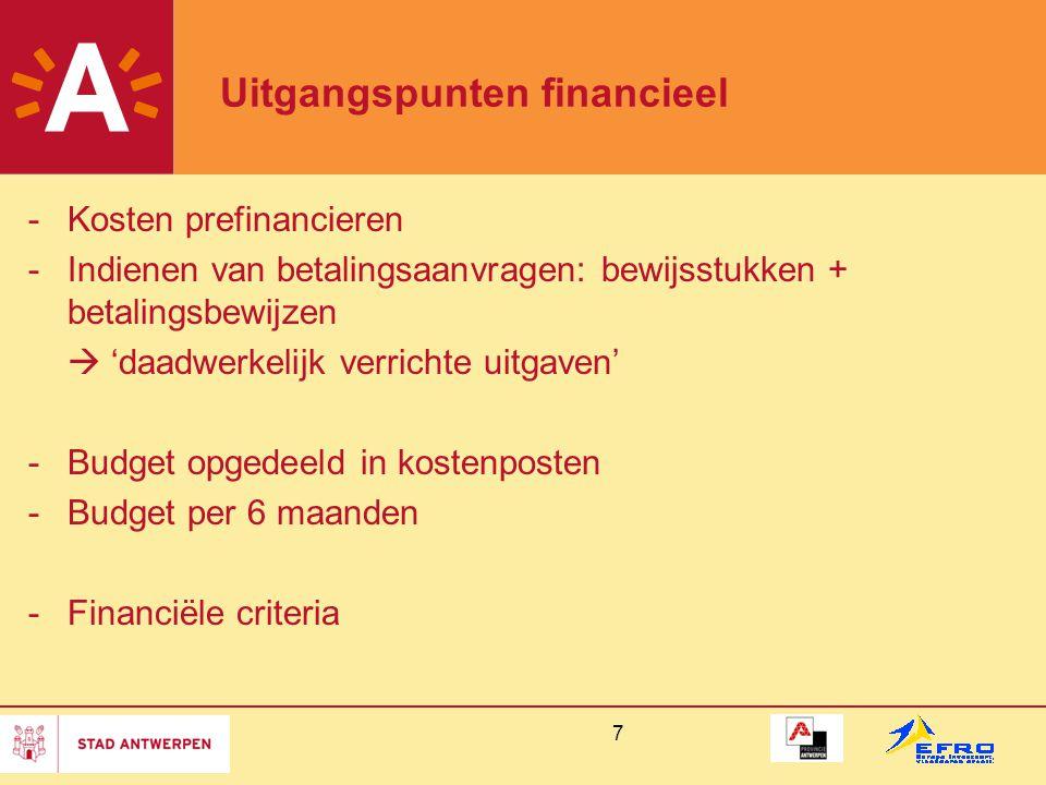 Uitgangspunten financieel