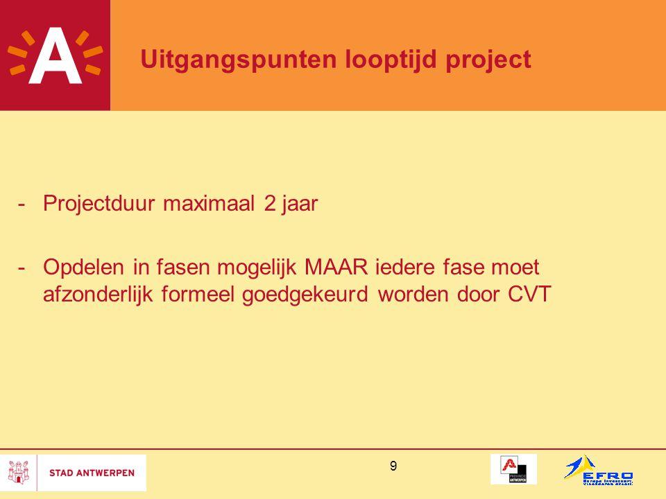 Uitgangspunten looptijd project