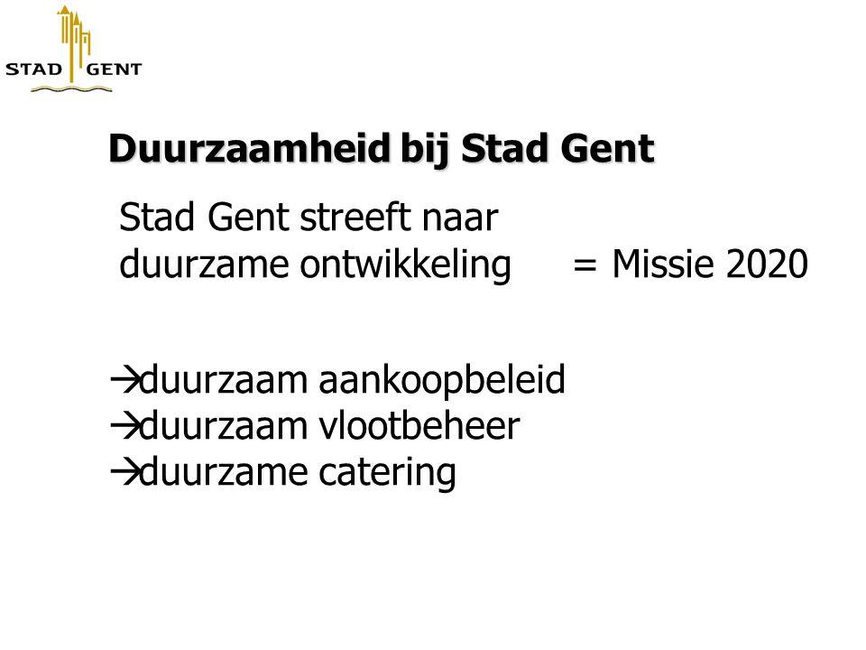 Duurzaamheid bij Stad Gent Stad Gent streeft naar