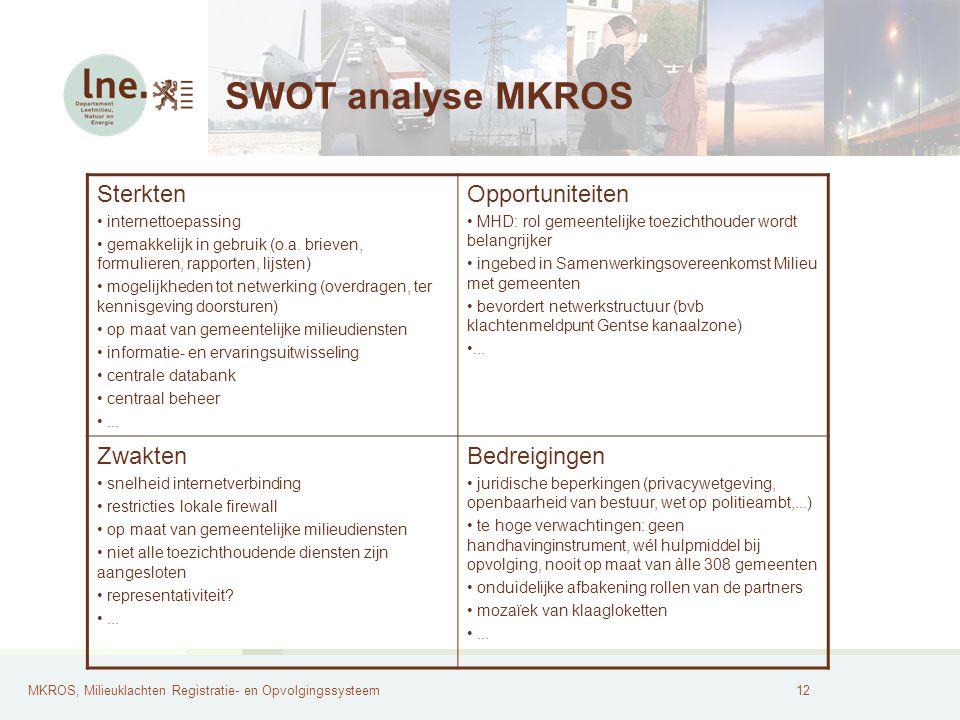 SWOT analyse MKROS Sterkten Opportuniteiten Zwakten Bedreigingen