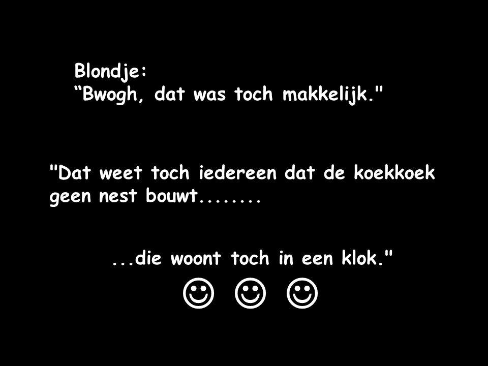    Blondje: Bwogh, dat was toch makkelijk.