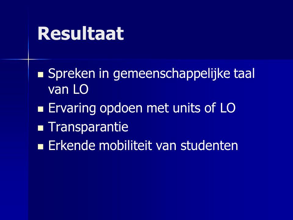 Resultaat Spreken in gemeenschappelijke taal van LO