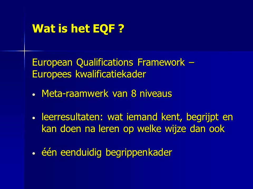 Wat is het EQF European Qualifications Framework –