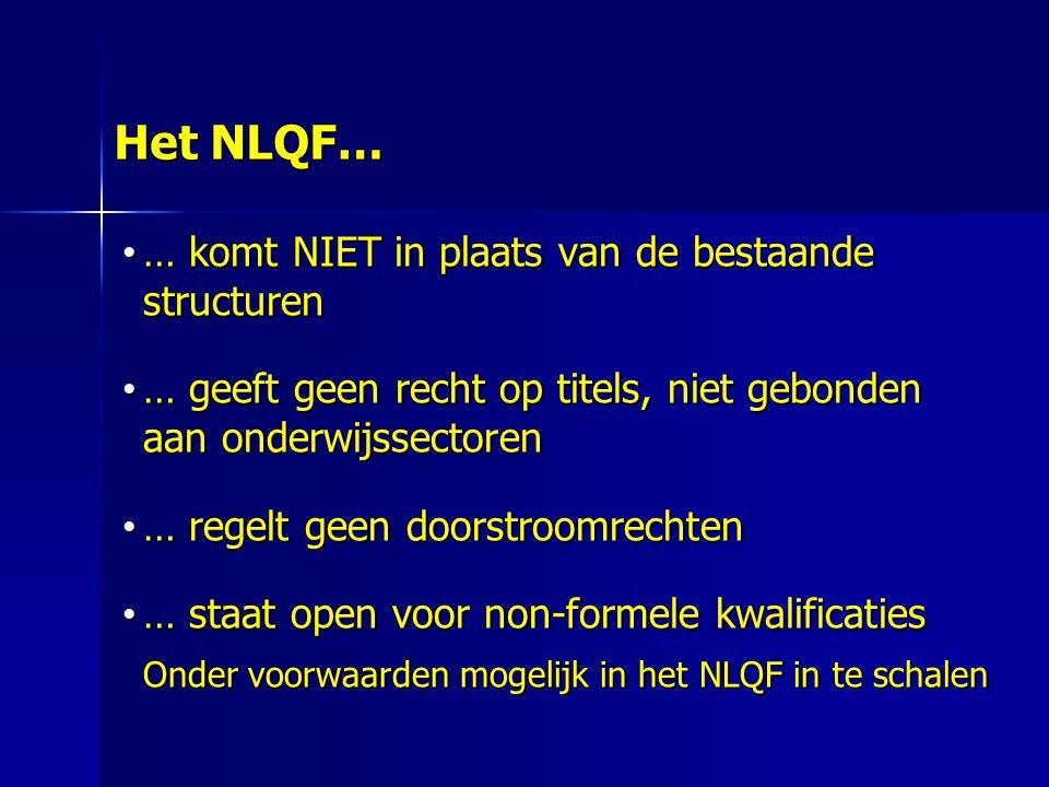 Het NLQF… … komt NIET in plaats van de bestaande structuren