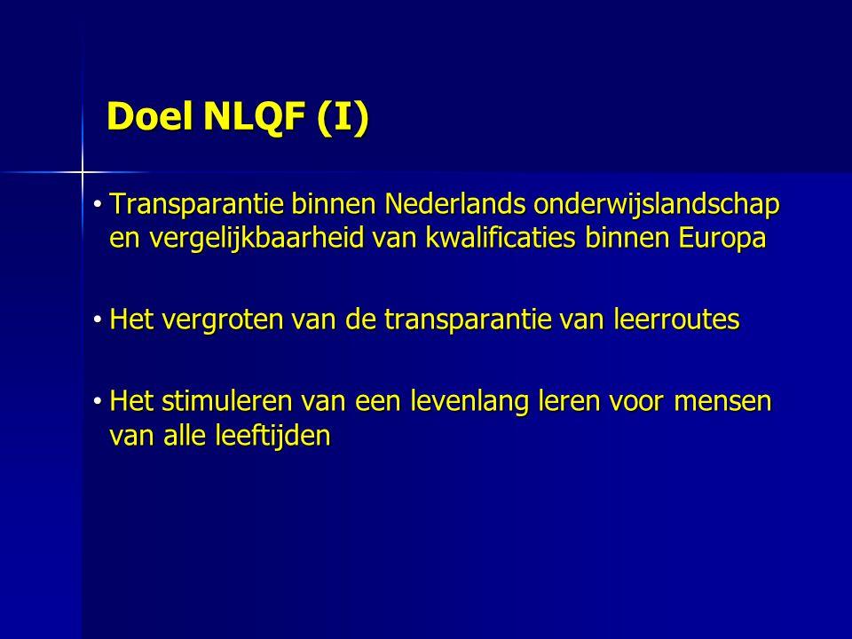 Doel NLQF (I) Transparantie binnen Nederlands onderwijslandschap en vergelijkbaarheid van kwalificaties binnen Europa.
