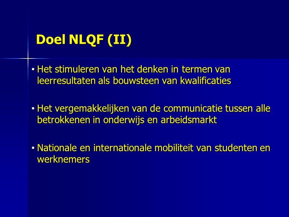 Doel NLQF (II) Het stimuleren van het denken in termen van leerresultaten als bouwsteen van kwalificaties.