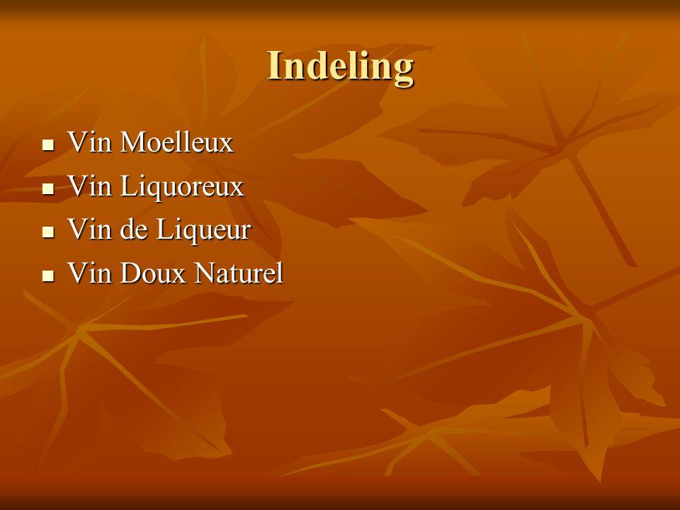 Indeling Vin Moelleux Vin Liquoreux Vin de Liqueur Vin Doux Naturel