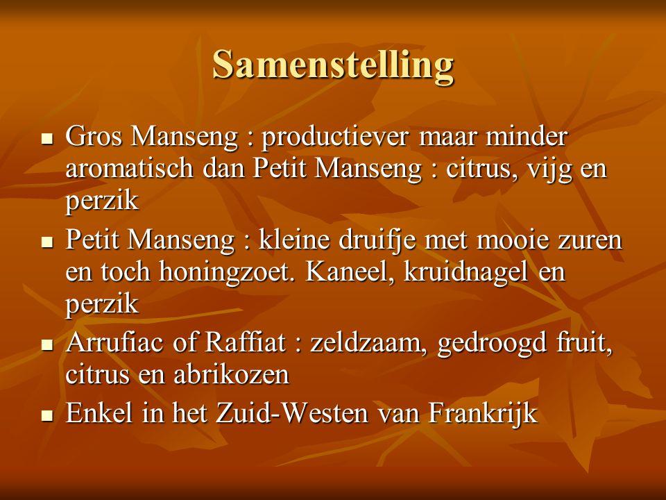 Samenstelling Gros Manseng : productiever maar minder aromatisch dan Petit Manseng : citrus, vijg en perzik.