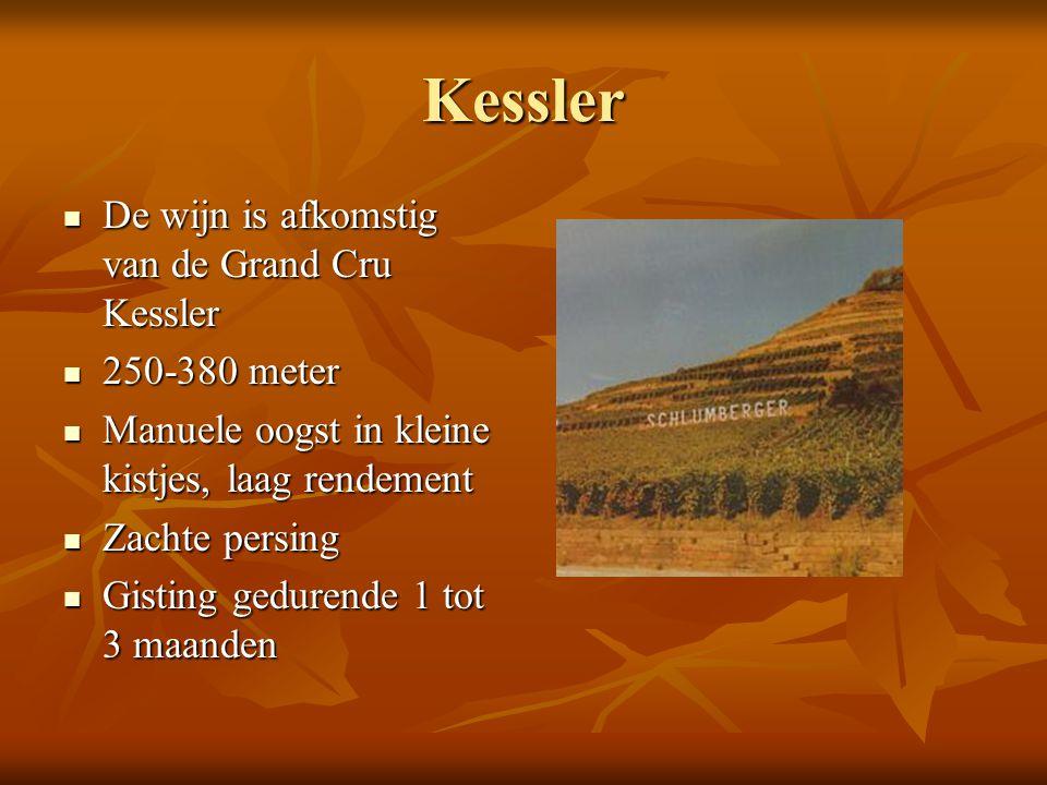 Kessler De wijn is afkomstig van de Grand Cru Kessler 250-380 meter