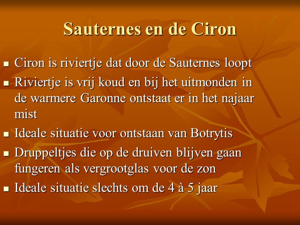 Sauternes en de Ciron Ciron is riviertje dat door de Sauternes loopt
