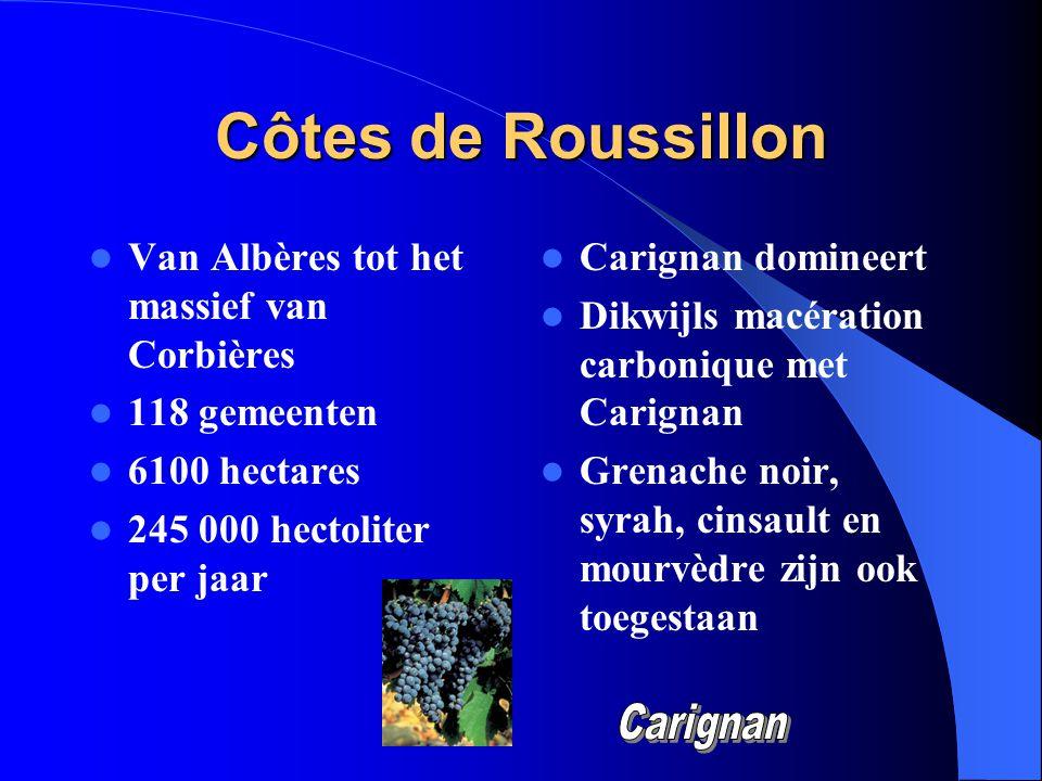 Côtes de Roussillon Van Albères tot het massief van Corbières