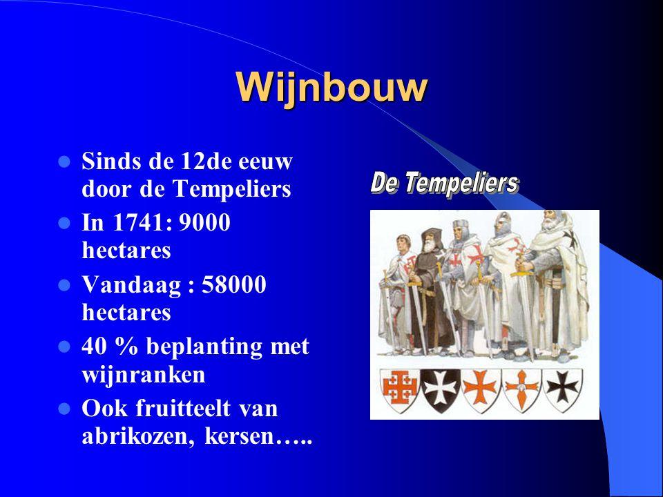 Wijnbouw Sinds de 12de eeuw door de Tempeliers In 1741: 9000 hectares