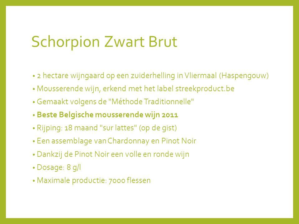 Schorpion Zwart Brut 2 hectare wijngaard op een zuiderhelling in Vliermaal (Haspengouw) Mousserende wijn, erkend met het label streekproduct.be.