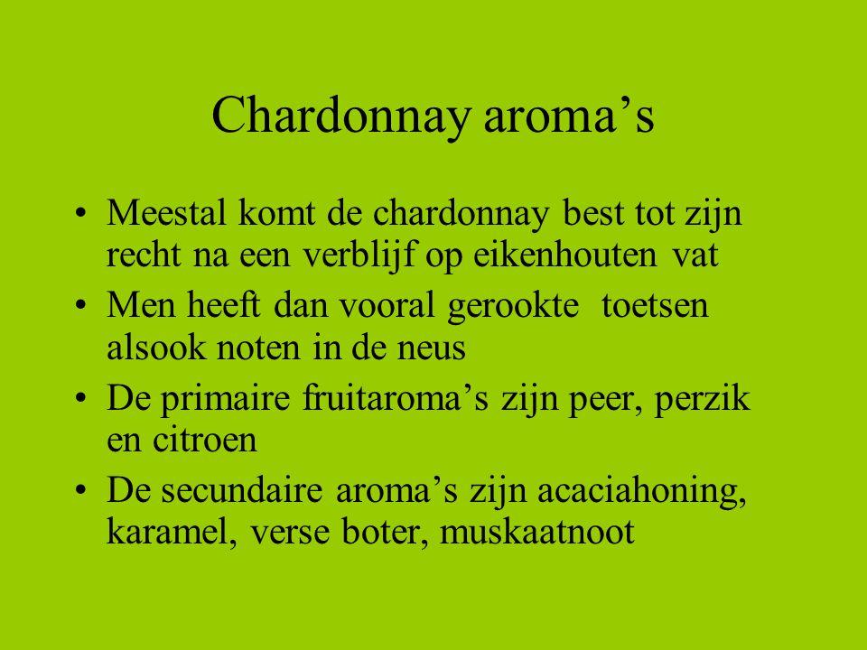Chardonnay aroma's Meestal komt de chardonnay best tot zijn recht na een verblijf op eikenhouten vat.