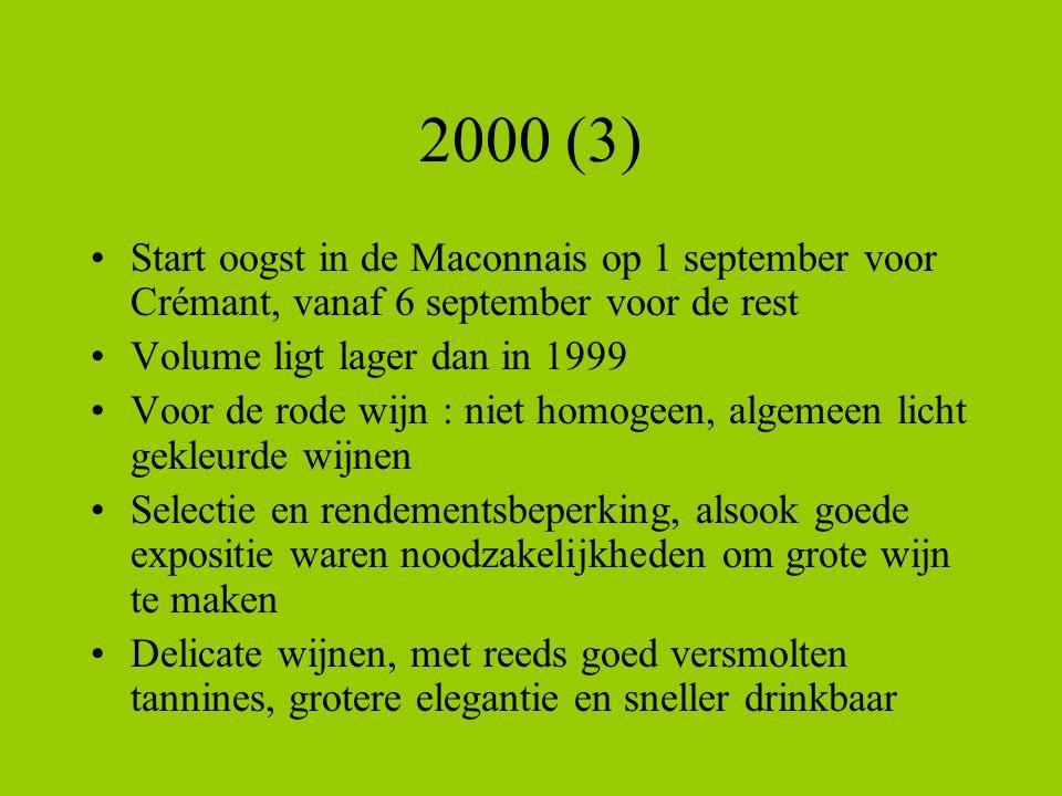 2000 (3) Start oogst in de Maconnais op 1 september voor Crémant, vanaf 6 september voor de rest. Volume ligt lager dan in 1999.