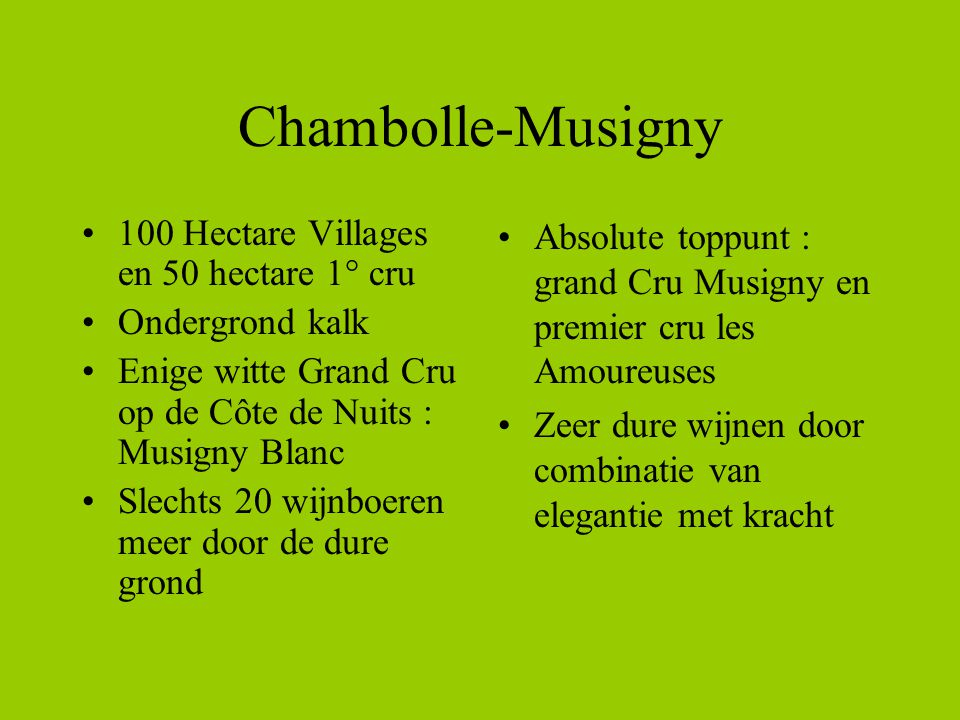 Chambolle-Musigny 100 Hectare Villages en 50 hectare 1° cru
