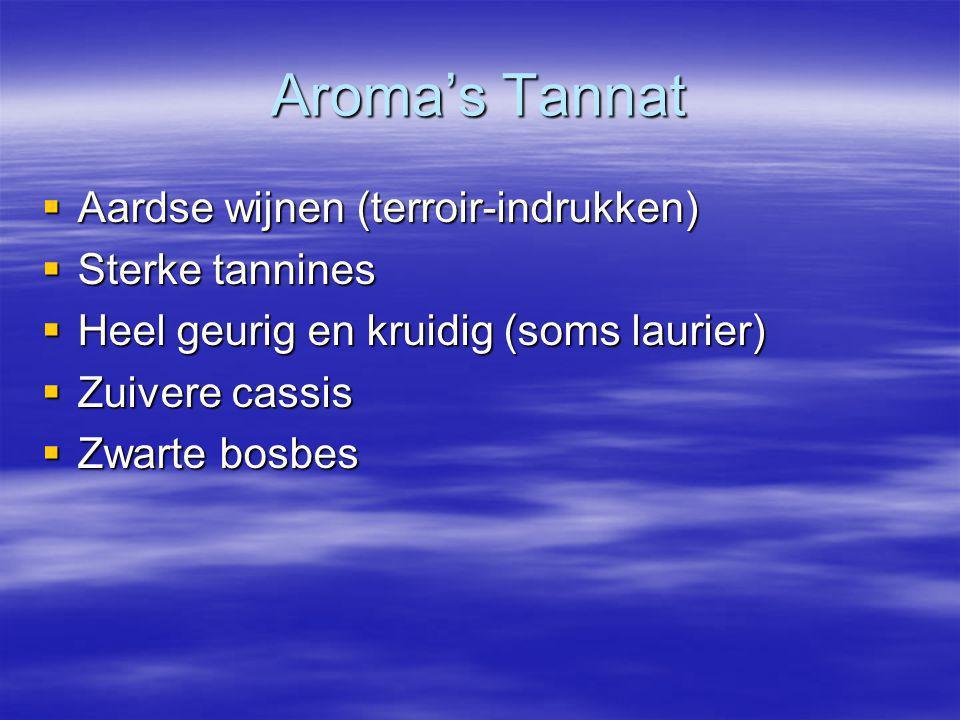 Aroma's Tannat Aardse wijnen (terroir-indrukken) Sterke tannines