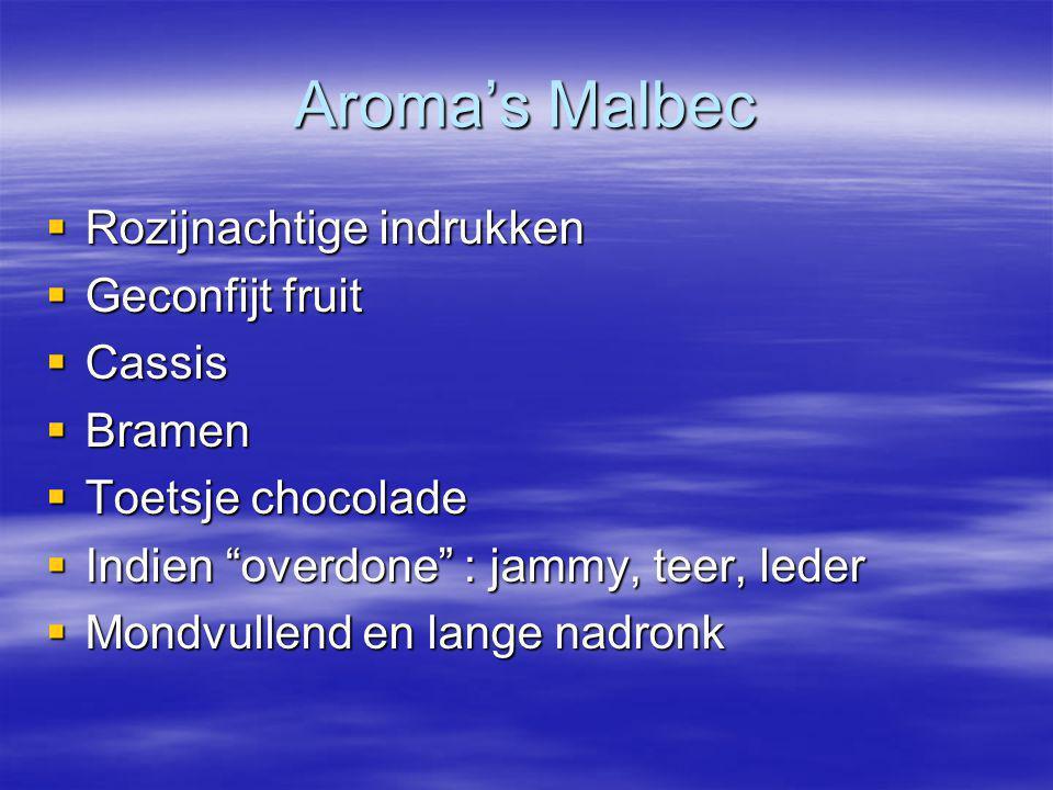 Aroma's Malbec Rozijnachtige indrukken Geconfijt fruit Cassis Bramen
