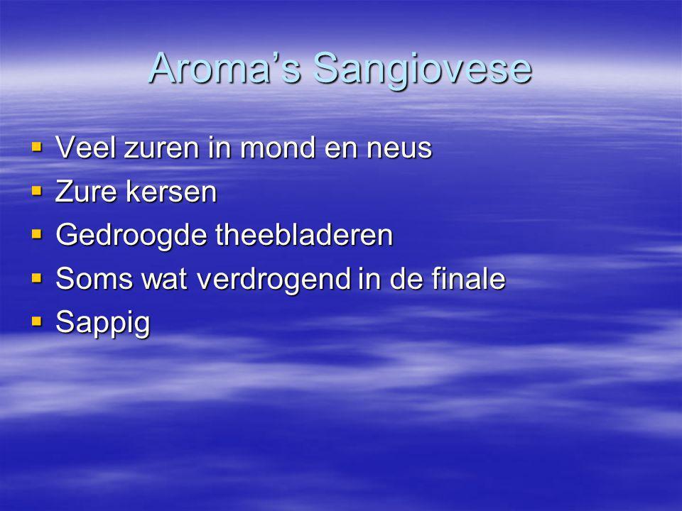 Aroma's Sangiovese Veel zuren in mond en neus Zure kersen