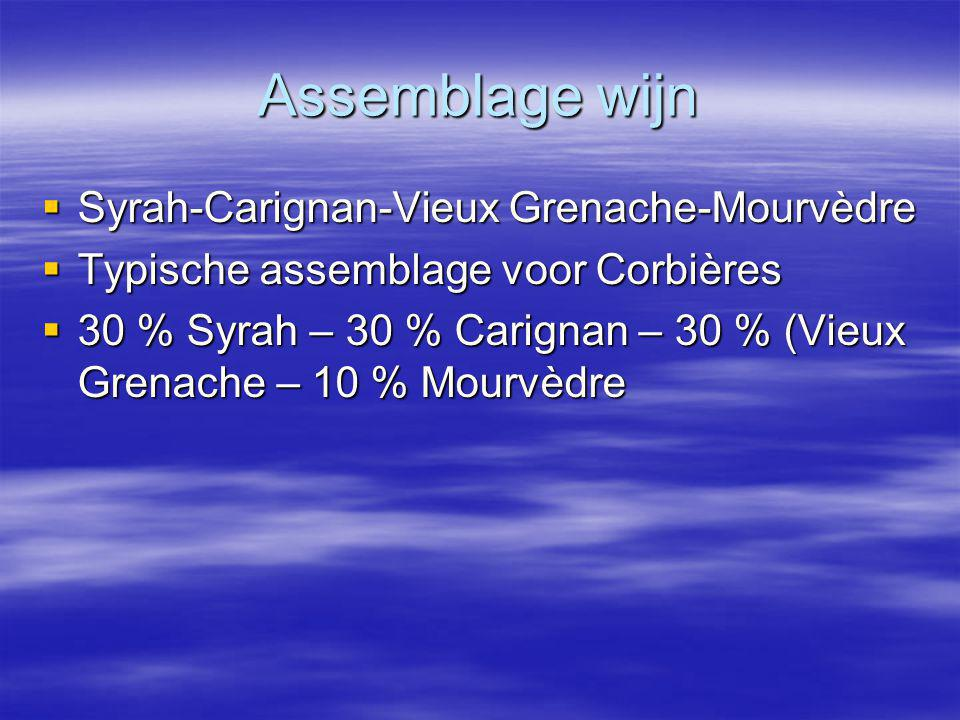 Assemblage wijn Syrah-Carignan-Vieux Grenache-Mourvèdre