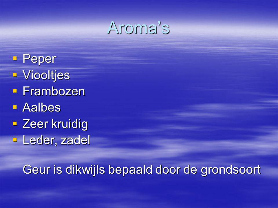 Aroma's Peper Viooltjes Frambozen Aalbes Zeer kruidig Leder, zadel