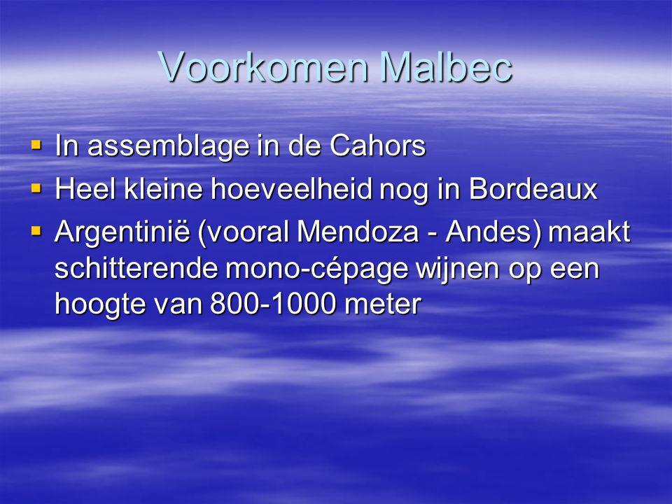 Voorkomen Malbec In assemblage in de Cahors
