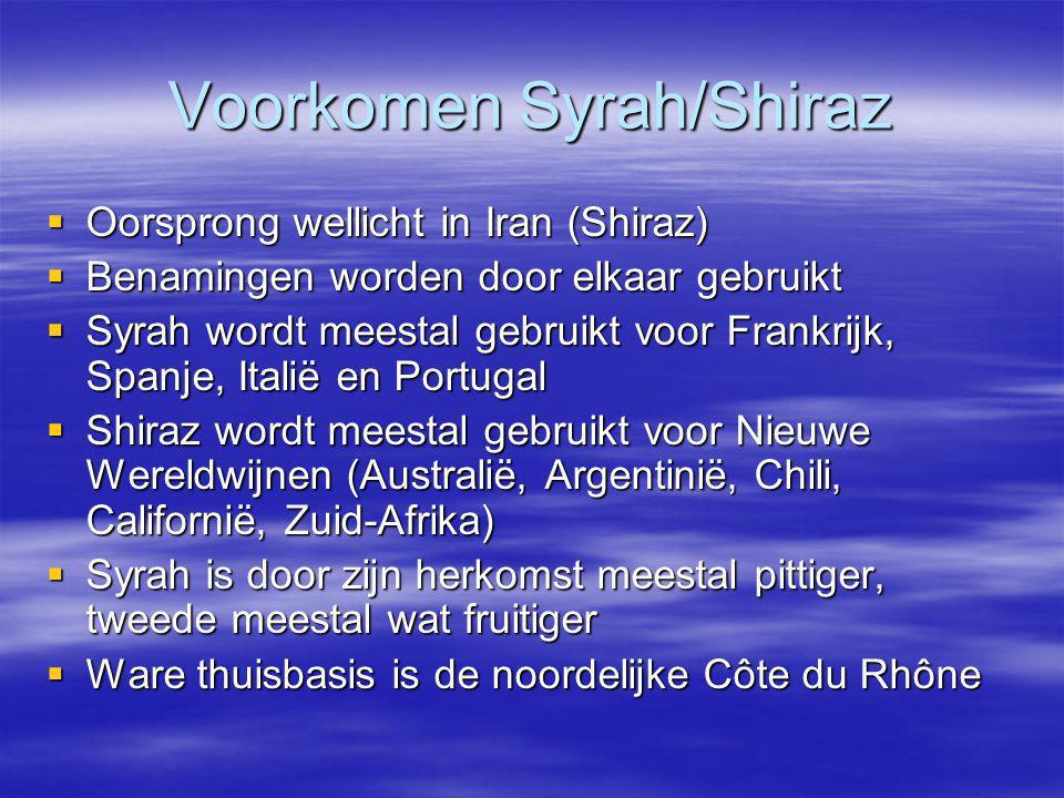 Voorkomen Syrah/Shiraz