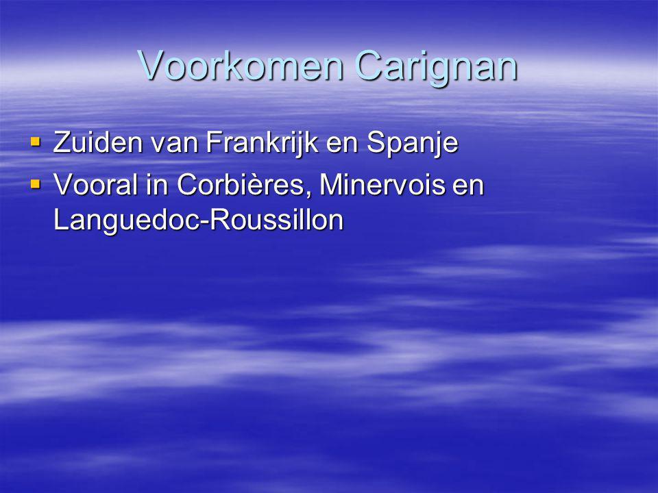 Voorkomen Carignan Zuiden van Frankrijk en Spanje