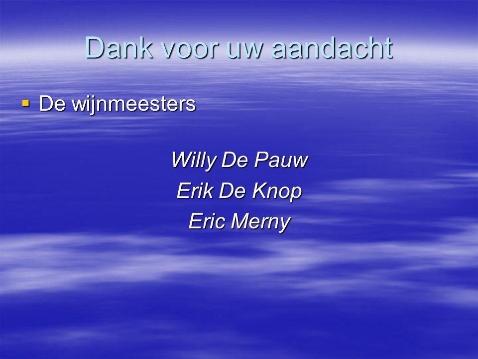 Dank voor uw aandacht De wijnmeesters Willy De Pauw Erik De Knop