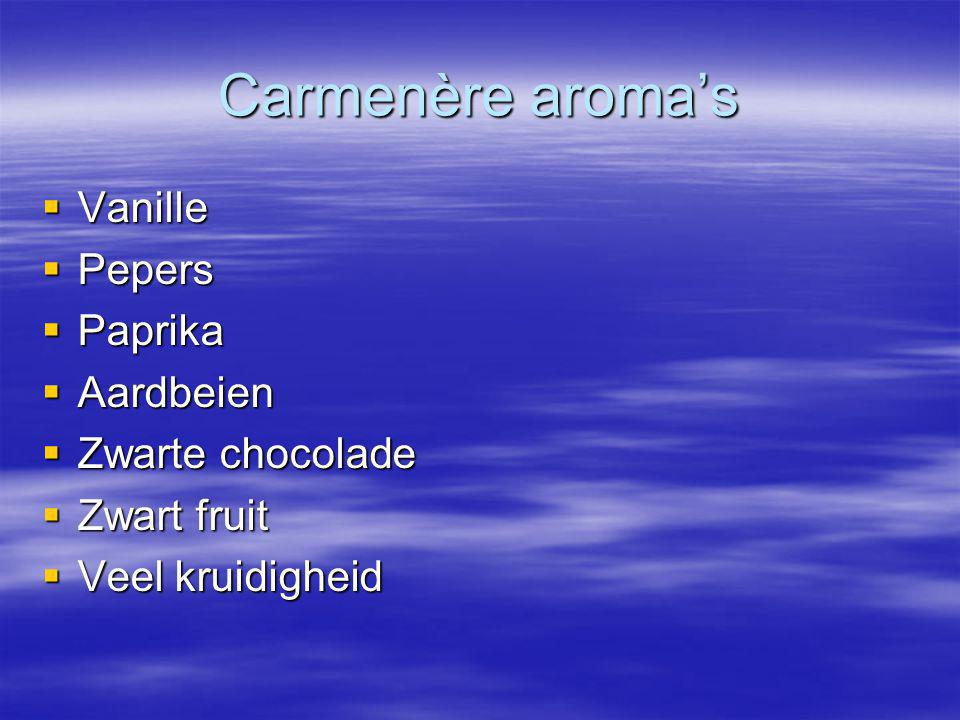 Carmenère aroma's Vanille Pepers Paprika Aardbeien Zwarte chocolade