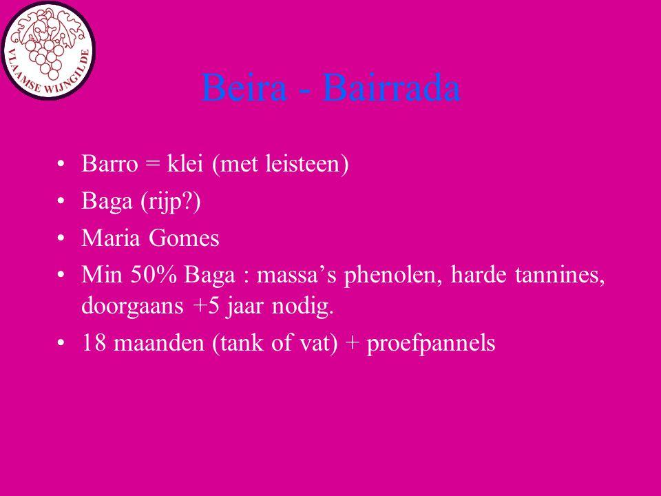 Beira - Bairrada Barro = klei (met leisteen) Baga (rijp ) Maria Gomes