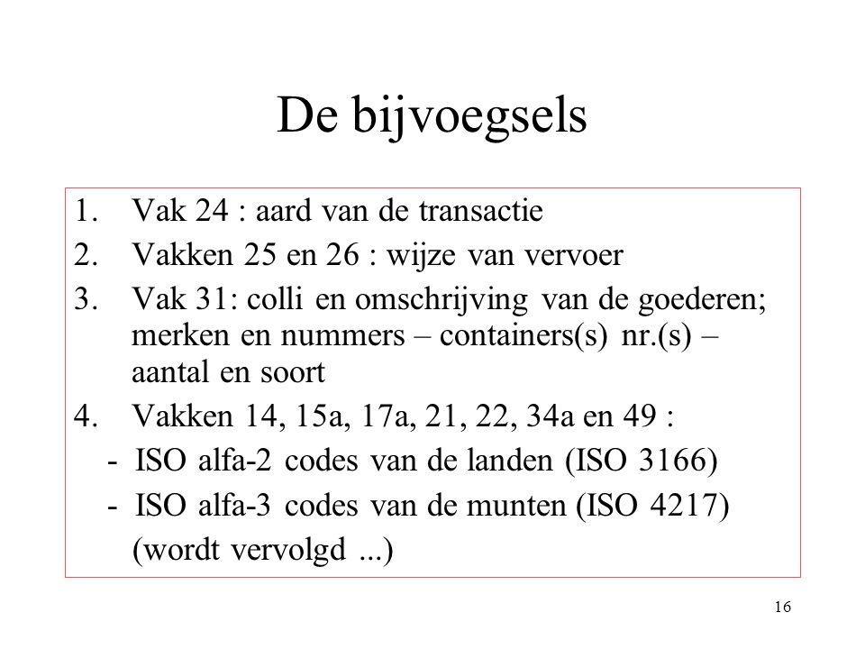 De bijvoegsels Vak 24 : aard van de transactie