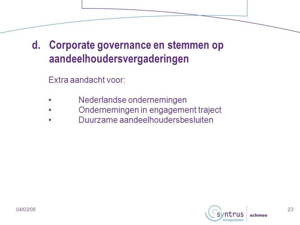 d. Corporate governance en stemmen op aandeelhoudersvergaderingen