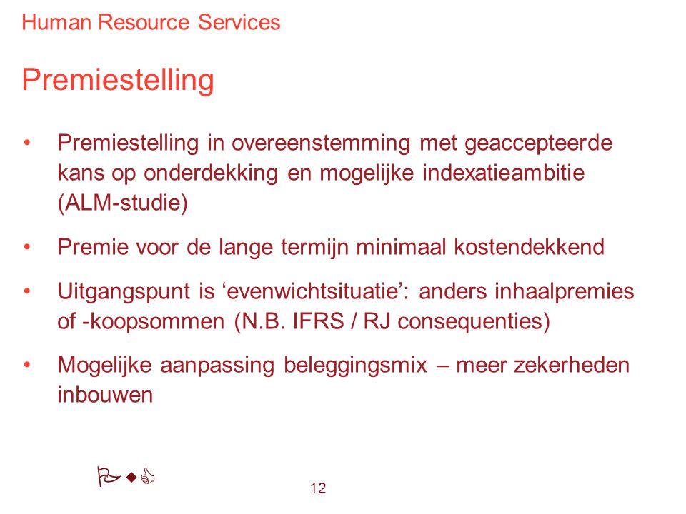 Premiestelling Premiestelling in overeenstemming met geaccepteerde kans op onderdekking en mogelijke indexatieambitie (ALM-studie)