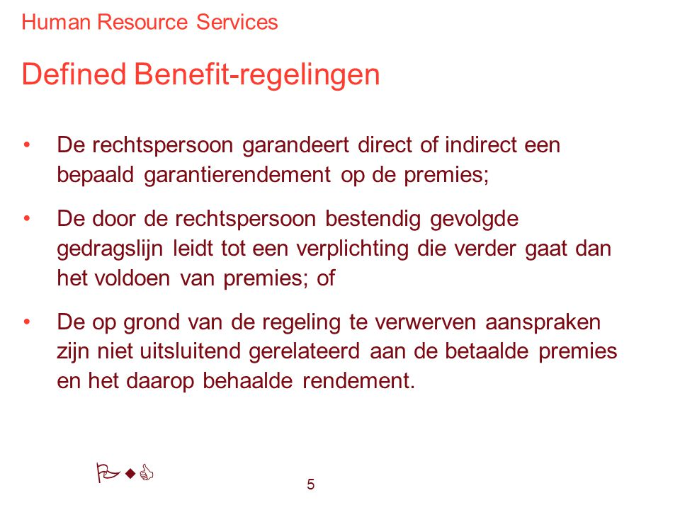 Defined Benefit-regelingen