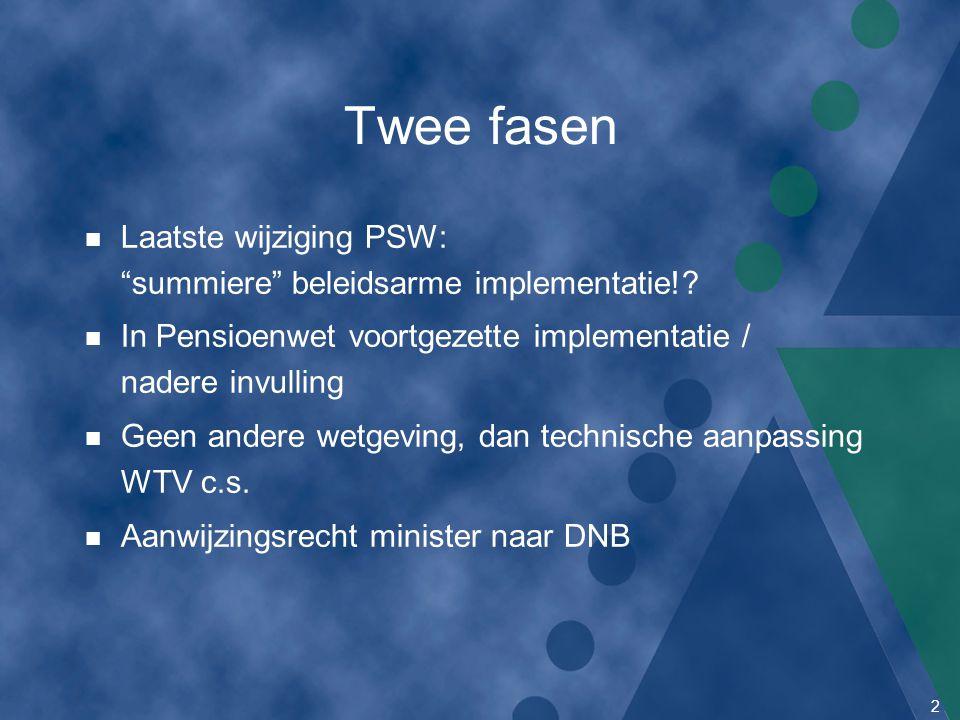 Twee fasen Laatste wijziging PSW: summiere beleidsarme implementatie! In Pensioenwet voortgezette implementatie / nadere invulling.